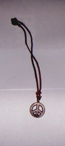 Leather & Steel Peace Sign Cord Necklace Brown New!