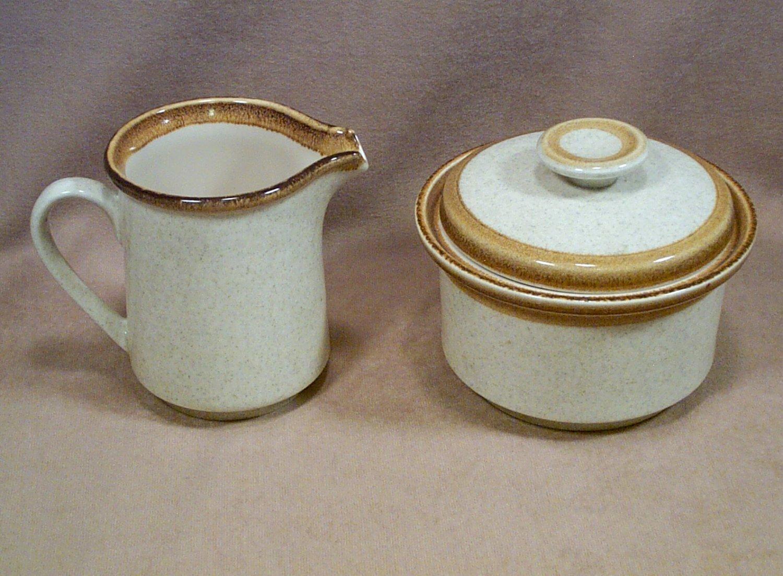 Mikasa Stone Manor Sugar Bowl w/ lid and Cream Pitcher Set  F5800 sugar & creamer