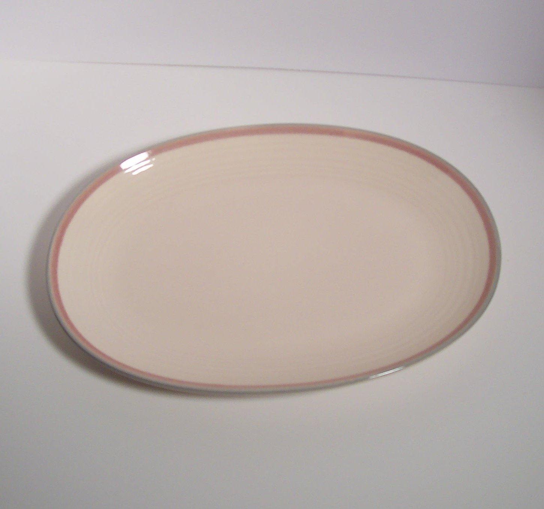 "Pfaltzgraff - Aura Pink - Oval Platter 14""  Made in USA Blue/Gray & Pink Border Trim"