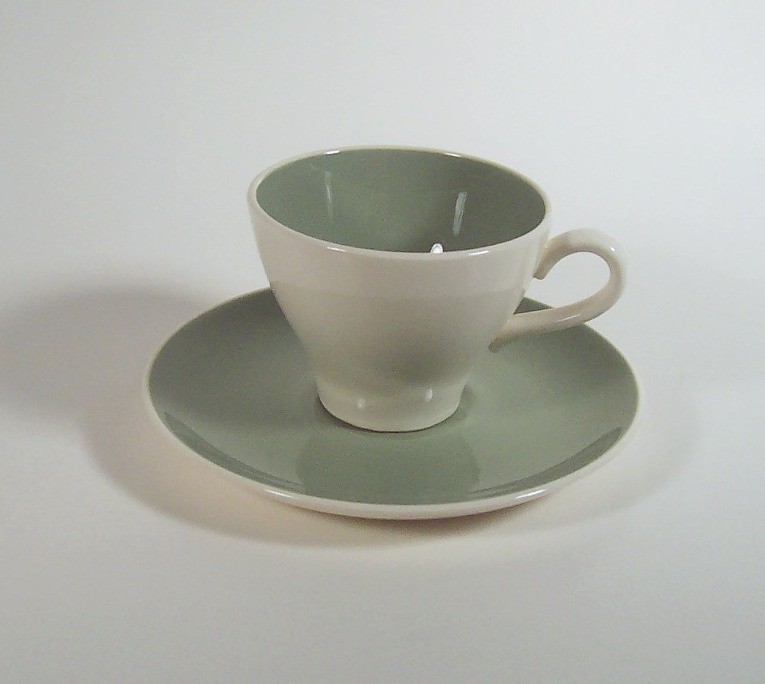 Cup and Saucer Harkerware Ivy Wreath Pattern by Harker