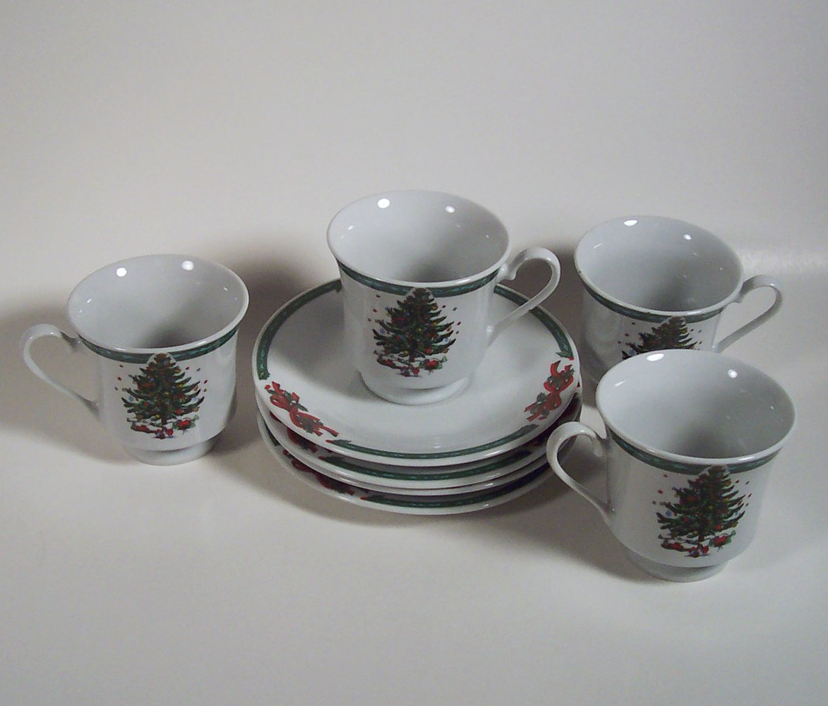 Christmas in the Park Set of 4 Footed Cups and Saucers Porcelain Made in China
