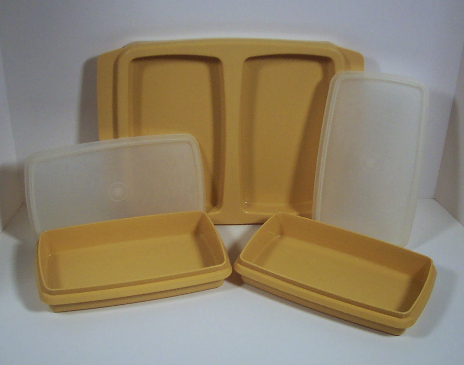 Vintage Tupperware 5 piece Dual Deli Keepers Harvest Gold withTray and Sheer Lids