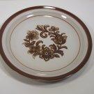 """Brown Monterrey Stoneware Round 12"""" Platter MSI Japan  Center Flowers"""