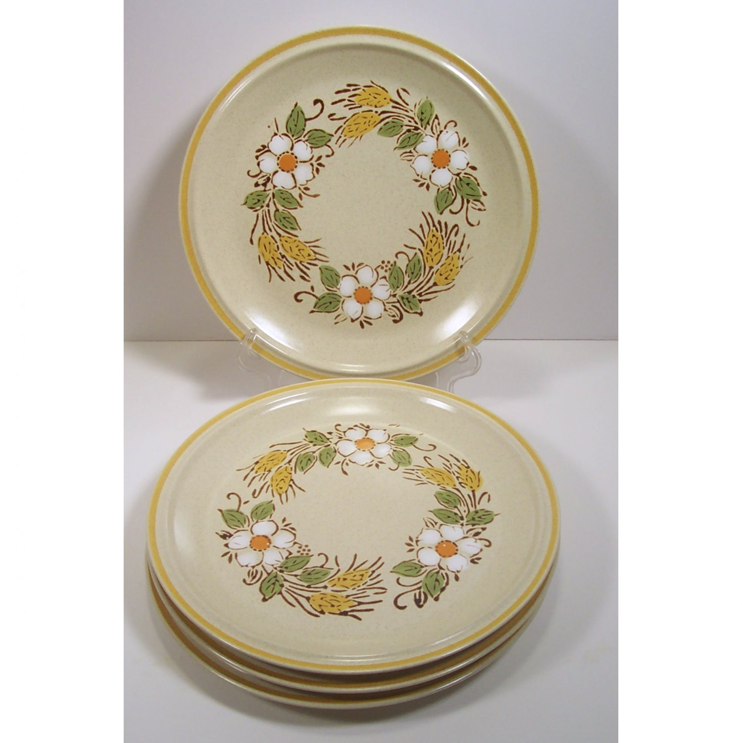 Hearthside Prairie Flowers Set of 4 Dinner Plates Stoneware Made in Japan