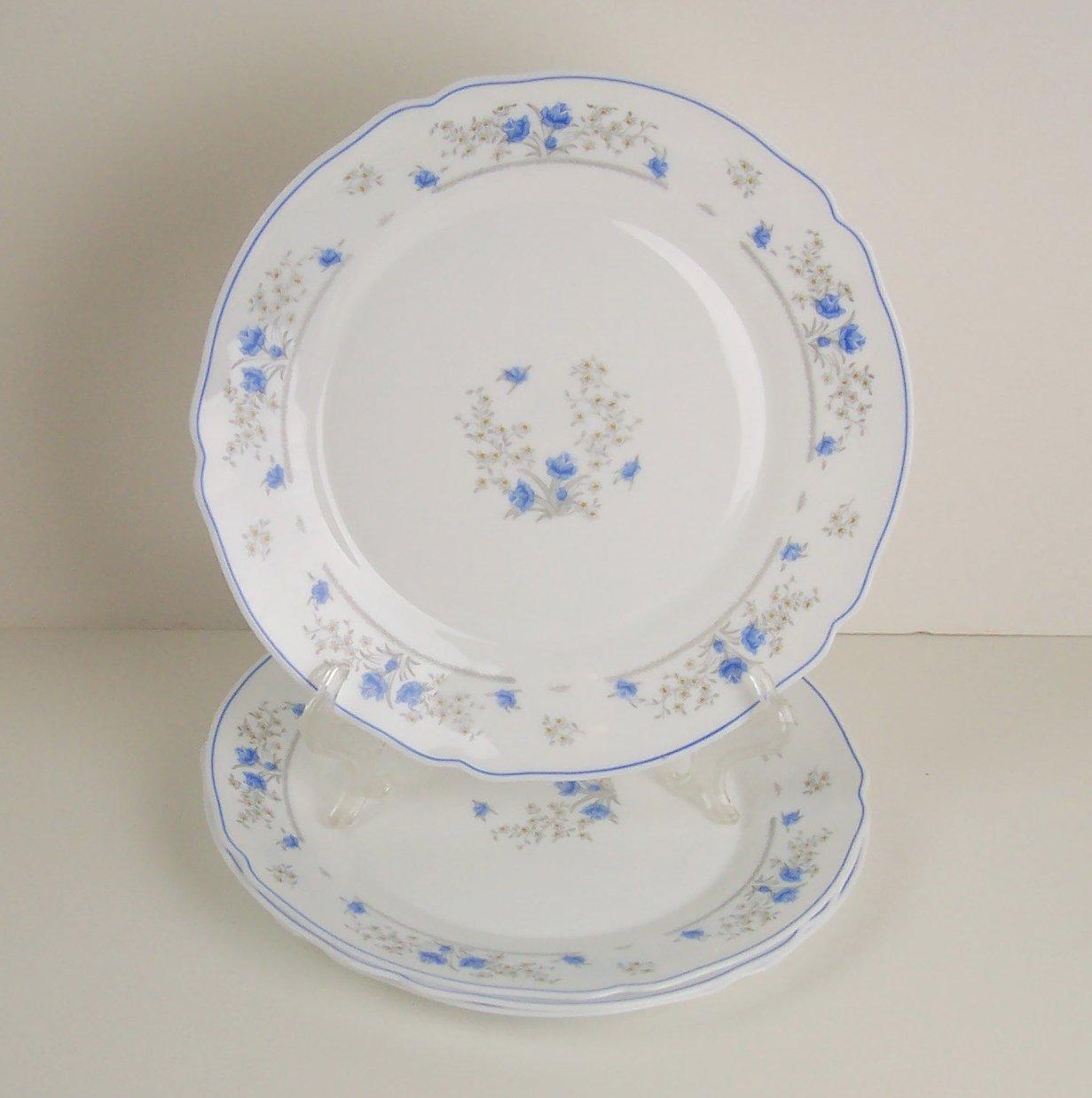 Arcopal ROMANTIQUE Set of 4 Dinner Plates Dinnerware China France White Blue Flowers microwave safe