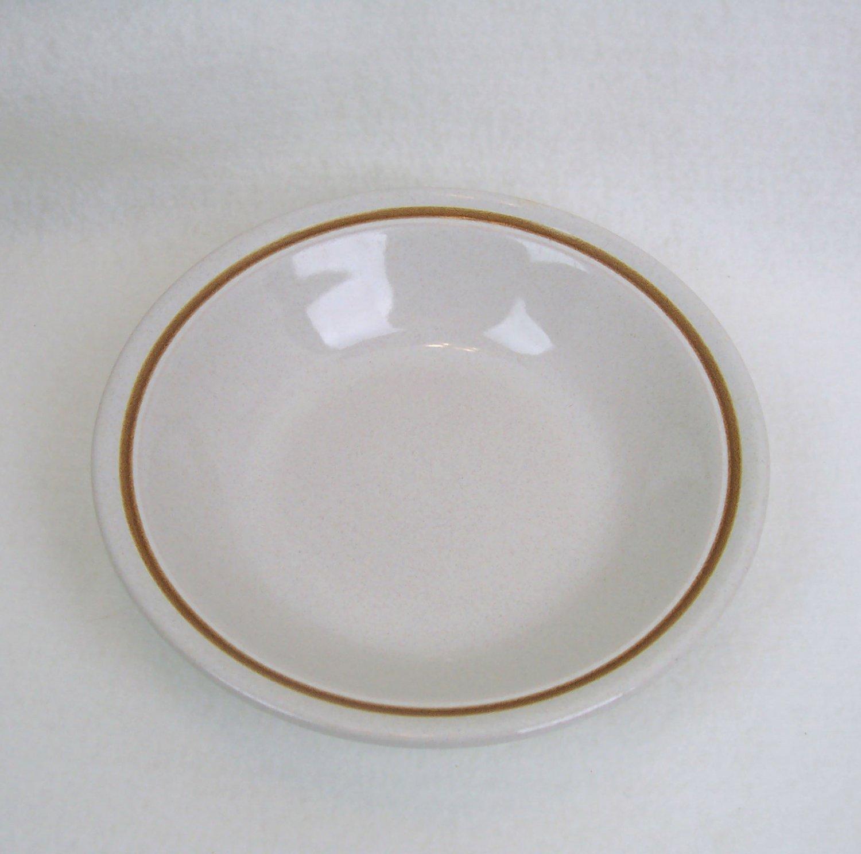 "Stoneware bowl 7 1/2"" x 1 5/8"" brown rim trim Made in Japan"