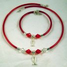 Kids Red Necklace & Bracelet Set with Christian Fish Charms