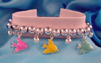 Angelfish Angel Fish Beaded Charm Bracelet Silvertone
