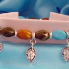 Turquoise Orange Brown Stones & Leaf Charm Bracelet Leaves
