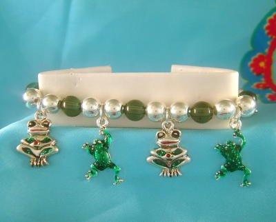 FROGS Silvertong & Green Frog Charm Bracelet