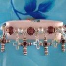 Silvertone Black Cross Charm Bracelet Christian Jewelry
