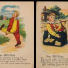 2 1908 Gee Wilikins Greetings Postcards