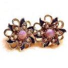 Lovely Moonstone Vintage Pink Flower Earrings