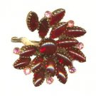 """Lovely Red Glass Stone 2 1/4"""" Brooch"""