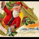 Lovely 1923 Santa Claus w Stocking Postcard