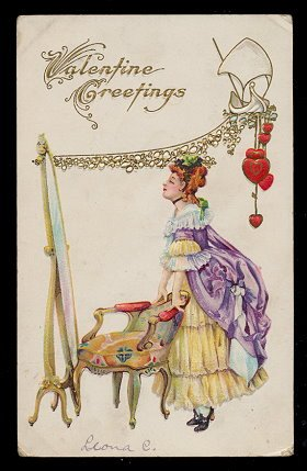 Lovely Colonial Girl Valentine's Day 1912 Postcard