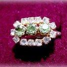 Lovely Vintage Green & White Stone Ladies Ring