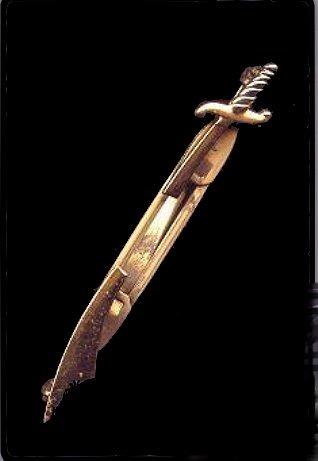 Great Vintage Goldtone Sword Tie Clasp
