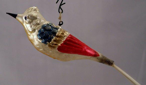 Early 1900s-1920s Spun Glass Tail Bird Ornament