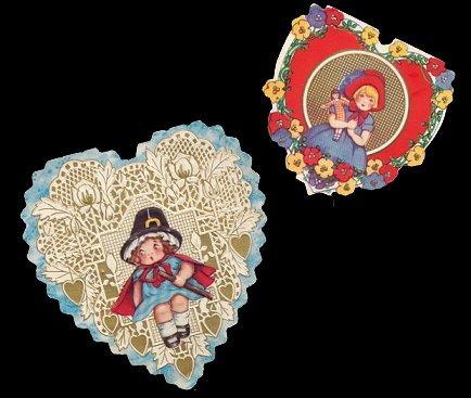 2 1920s Whitney Heart & Children Valentines