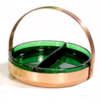 Vintage Green Glass Relish Dish in Goldtone Holder