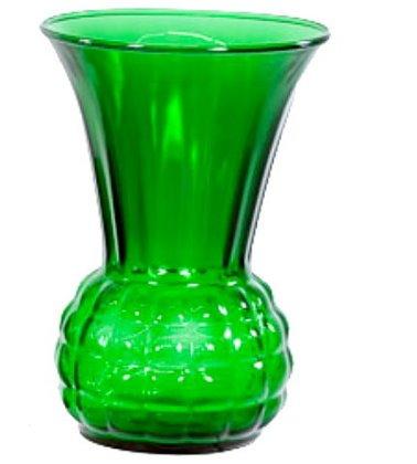 """Lovely Vintage 9"""" Green Glass Vase"""