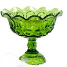 Vintage Green Footed Compote Dish, in a thumbnail design