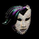 """2 1/4"""" Crystal 'Drama Mask' Brooch/Pin"""