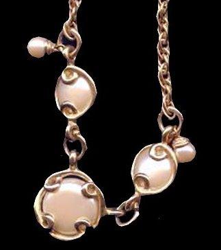 "Vintage Circles Goldtone & Cream 19"" Necklace"