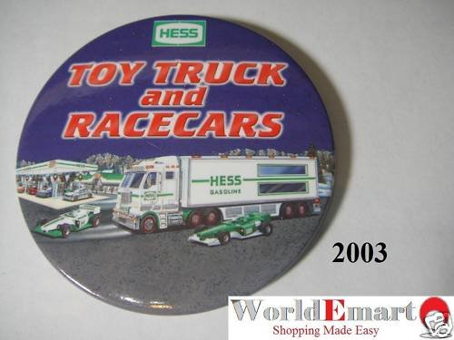 2003 Hess Toy Truck & Racecar PIN BUTTON collectable
