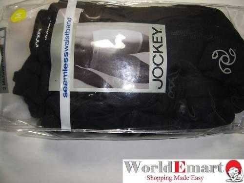 JOCKEY 2 Pk Black seamless waistband boxer briefs M