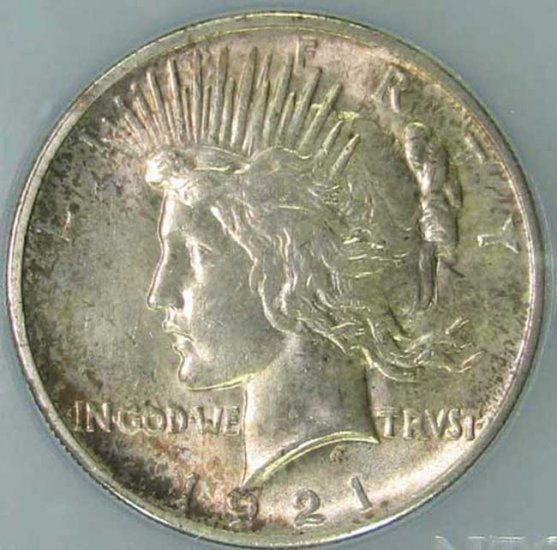 1921 Peace Dollar High Relief NTC MS64