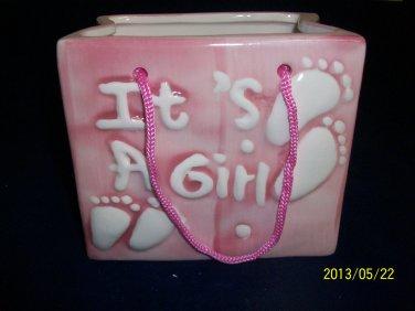 Baby Bag Planter-Nursery-Ceramic-Cute-Baby Shower-Christening-Birth-Girl