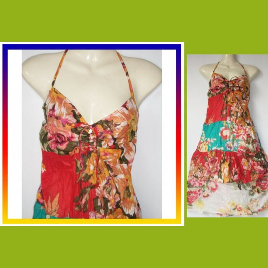 Short Patchwork Ruffle Hippie Gypey Boho CHIC Dress S M L