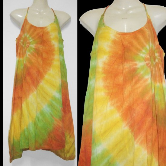 Tie dyeYellow  Orange CHIC HALTER short dress or top Hippie Gypsy Boho Summer COCKTAIL Dress S M L
