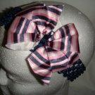 Satin Pink and Navy Blue Hair Bow on Headband