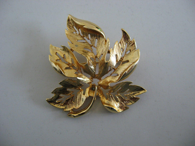 Gold Tone Leaf Brooch