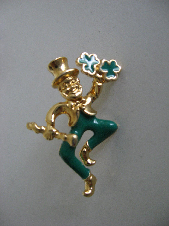 Gold Tone Leprechaun Pin