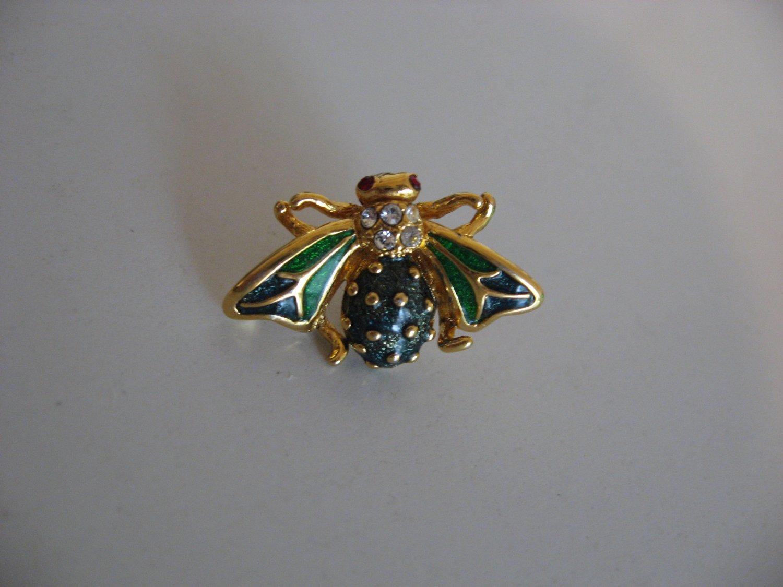 Gold Tone Enamel Bee Pin