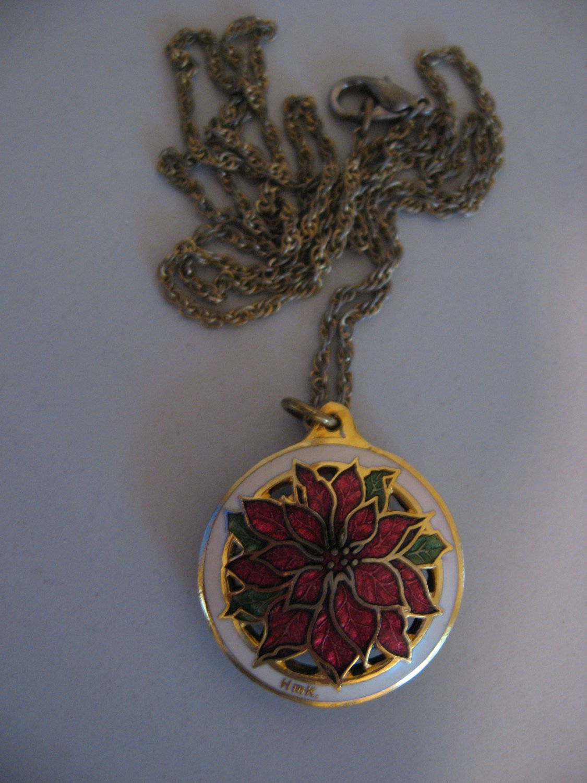 Enamel Poinsettia Flower Necklace