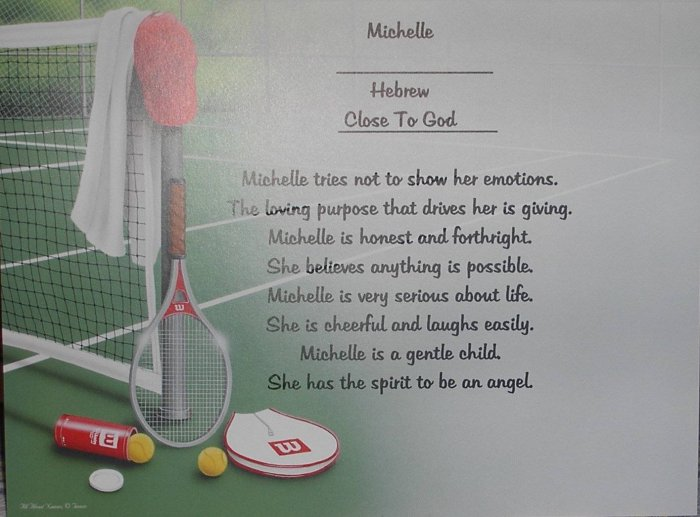 Name Poem Personalized Tennis background paper Free Shipping