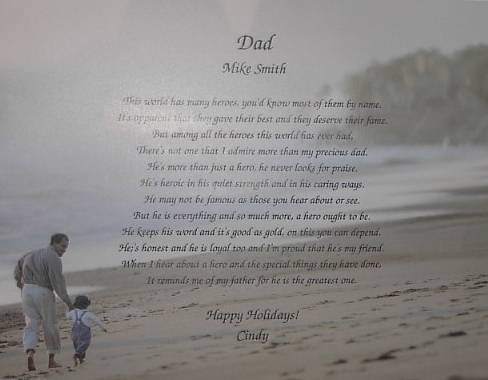 Dad Poem Personalized on Dad & Child background paper Free Shipping