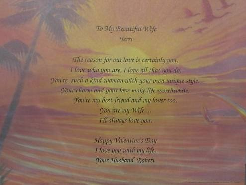 Loving Wife Poem Personalized Tropical background paper Free Shipping
