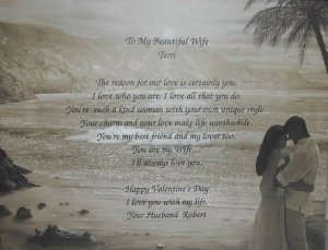 Loving Wife Poem Personalized Beach Background Paper Free Shipping