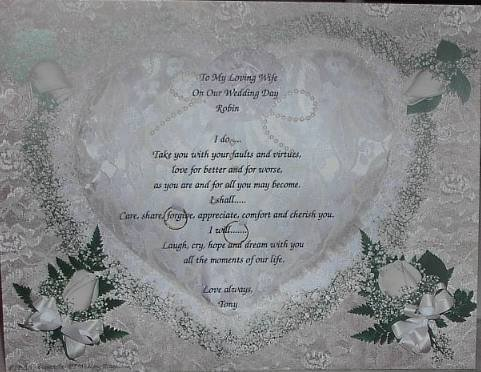 Loving Wife Or Husband Poem on Wedding Pillow Background Paper Free Shipping