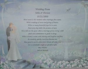 Wedding Poem on Bride & Groom background paper Free Shipping