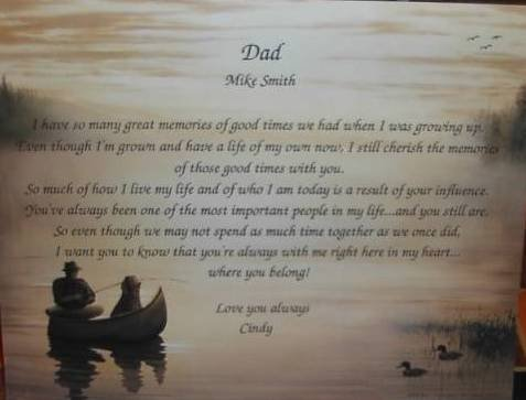 Dad Poem Personalized on Fishing background paper Free Shipping