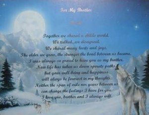 Brother Poem personalized on Wolf Background paper Free Shipping