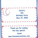 Baseball Personalized Birthday Hershey 1.55 oz Candy Wrapper Free Shipping