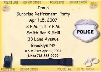 Police Retirement Invitation Personalized  Free Shipping